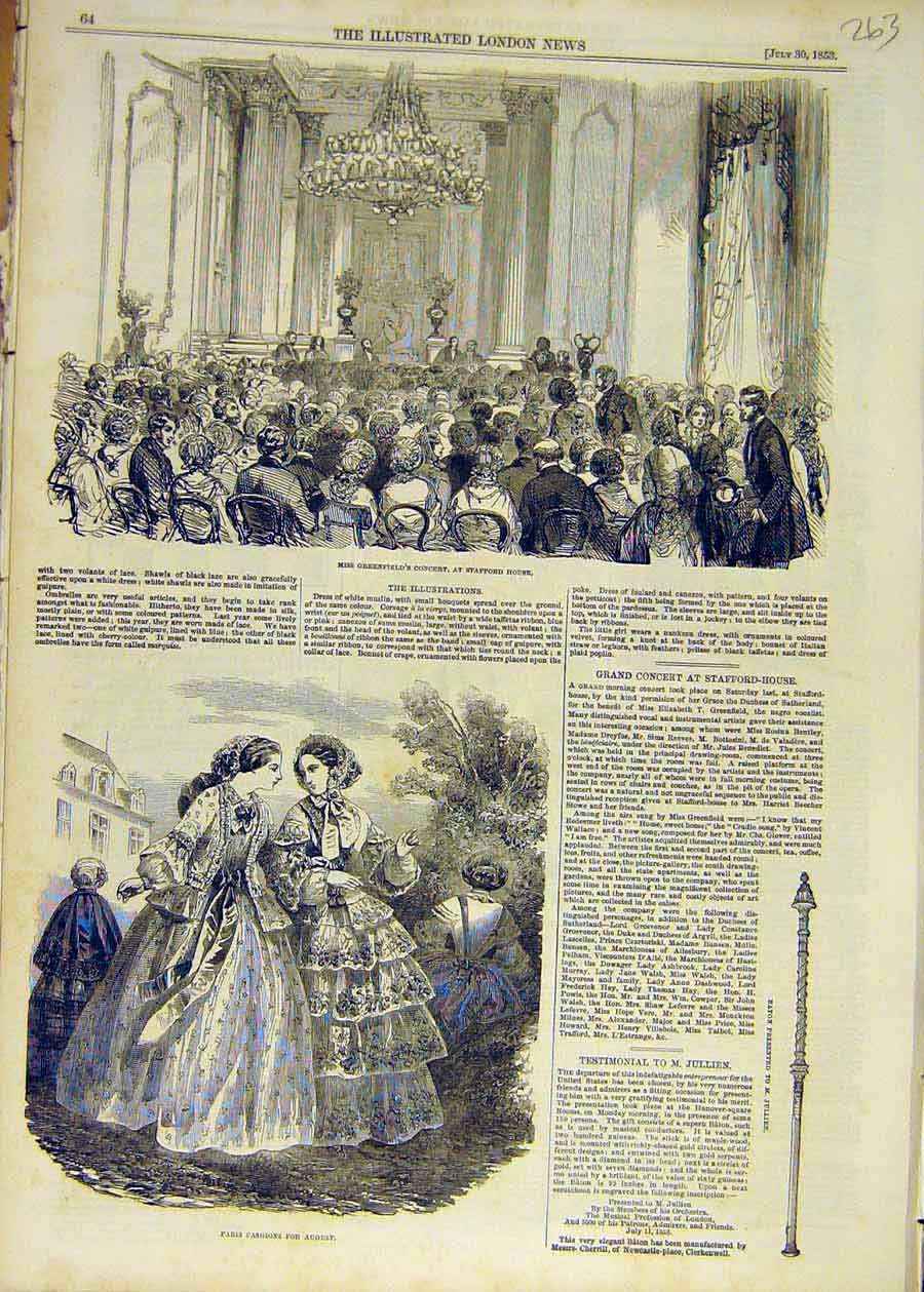 Print 1853 Greenfield'S Concert Stafford House Paris Fashion 63Ccc1 Old Original