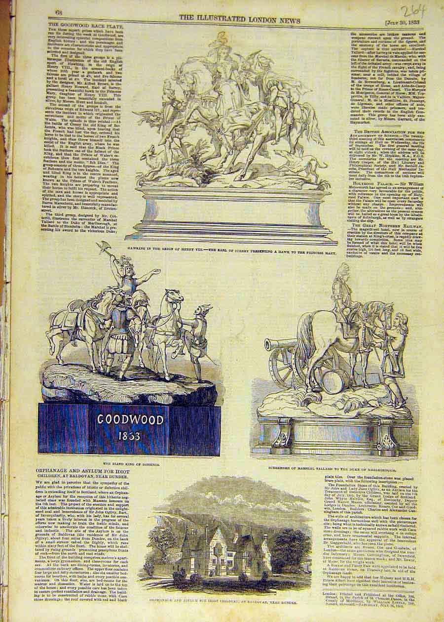 Print 1853 Hawking Hawk Statue Goodwood Race Plate Dundee 64Ccc1 Old Original
