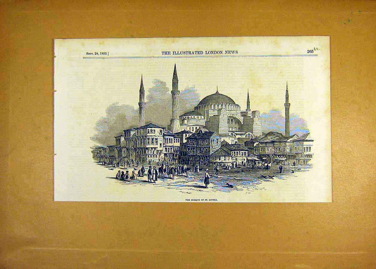 Print 1853 Mosque St. Sophia Building Architecture 65Uccc1 Old Original