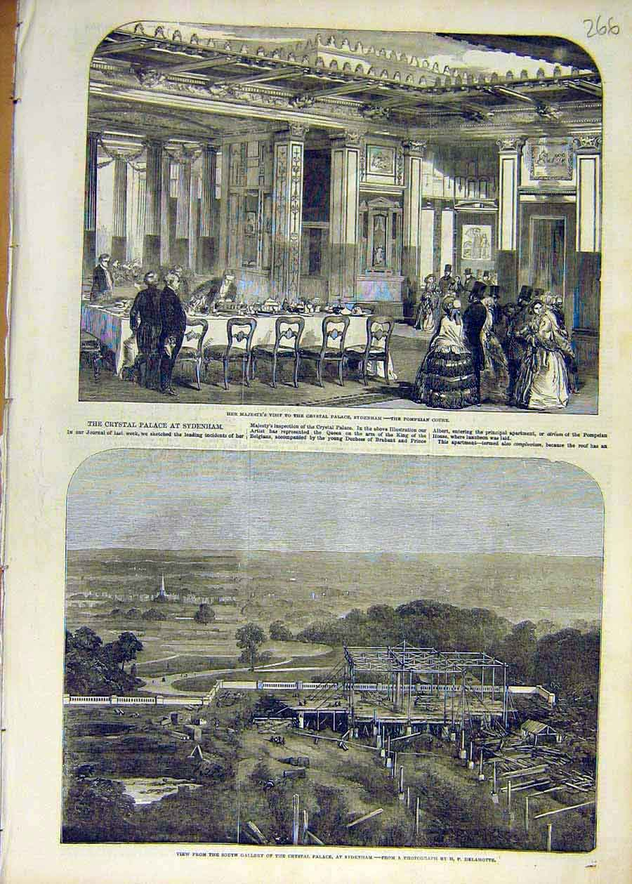 Print 1853 Crystal Palace Queen Sydenham Building 66Ccc1 Old Original