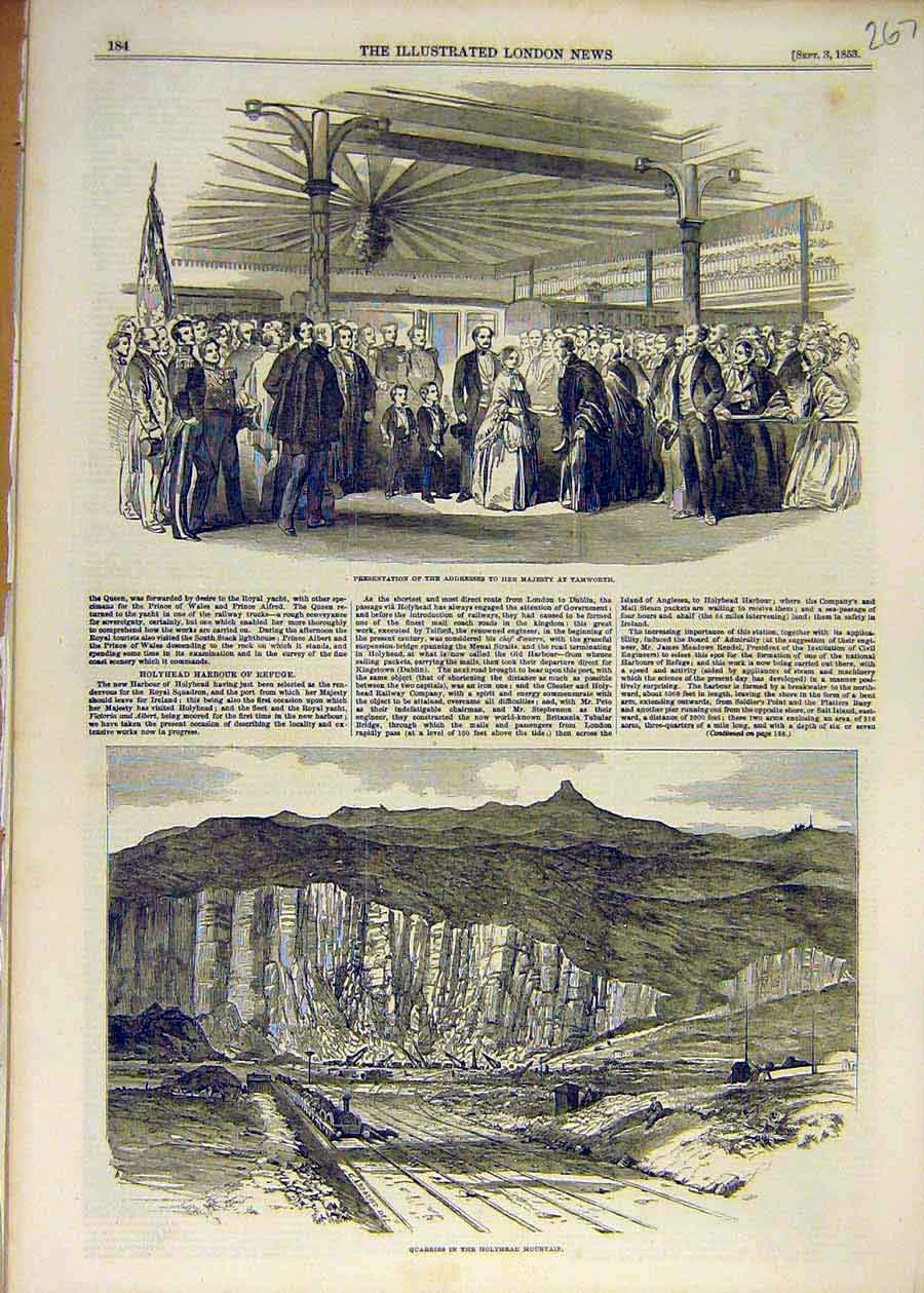 Print 1853 Tamworth Queen Address Quarry Holyhead Mountain 67Ccc1 Old Original