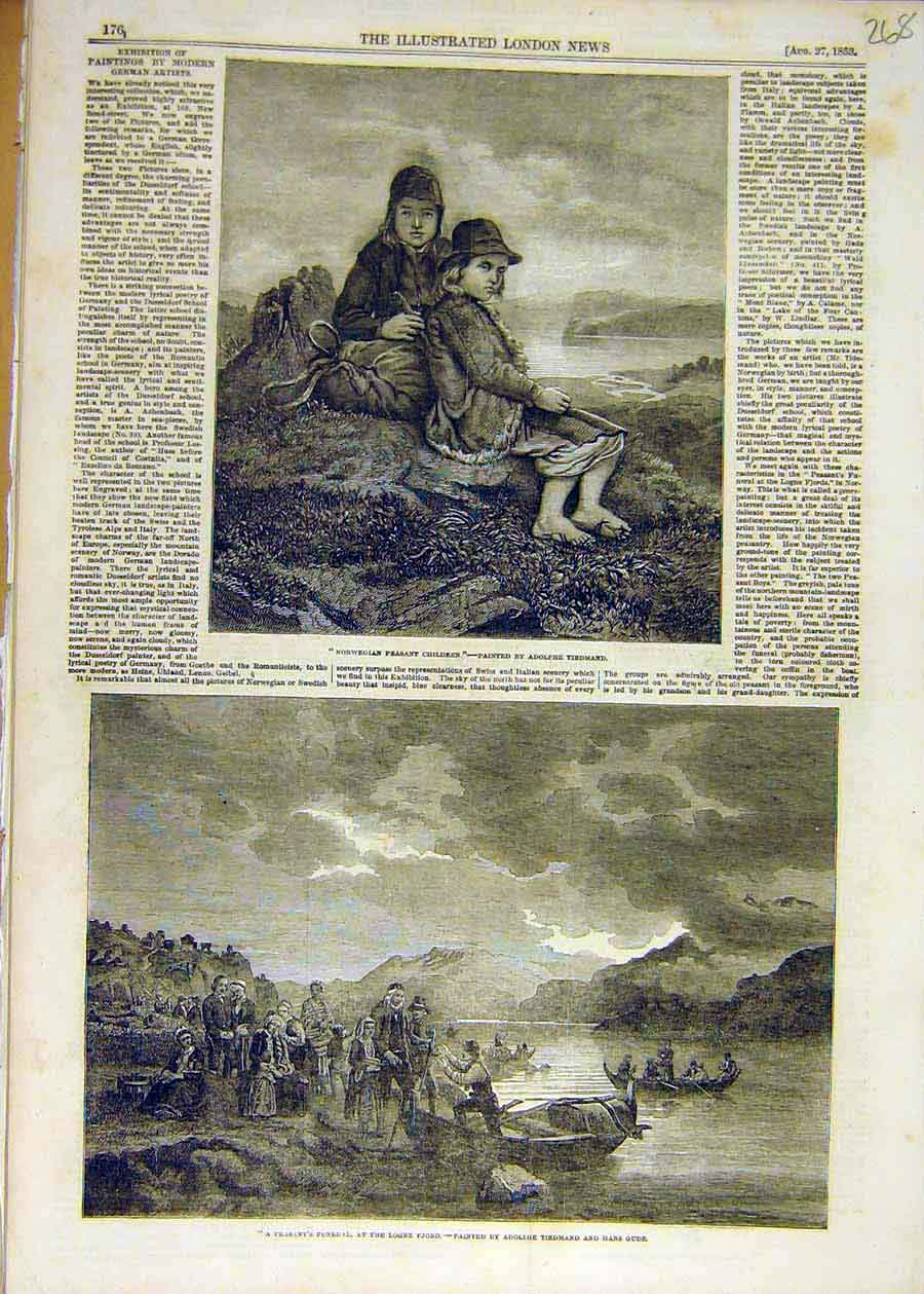 Print 1853 Norwegian Peasant Children Tiedmand Funeral Fjord 68Ccc1 Old Original