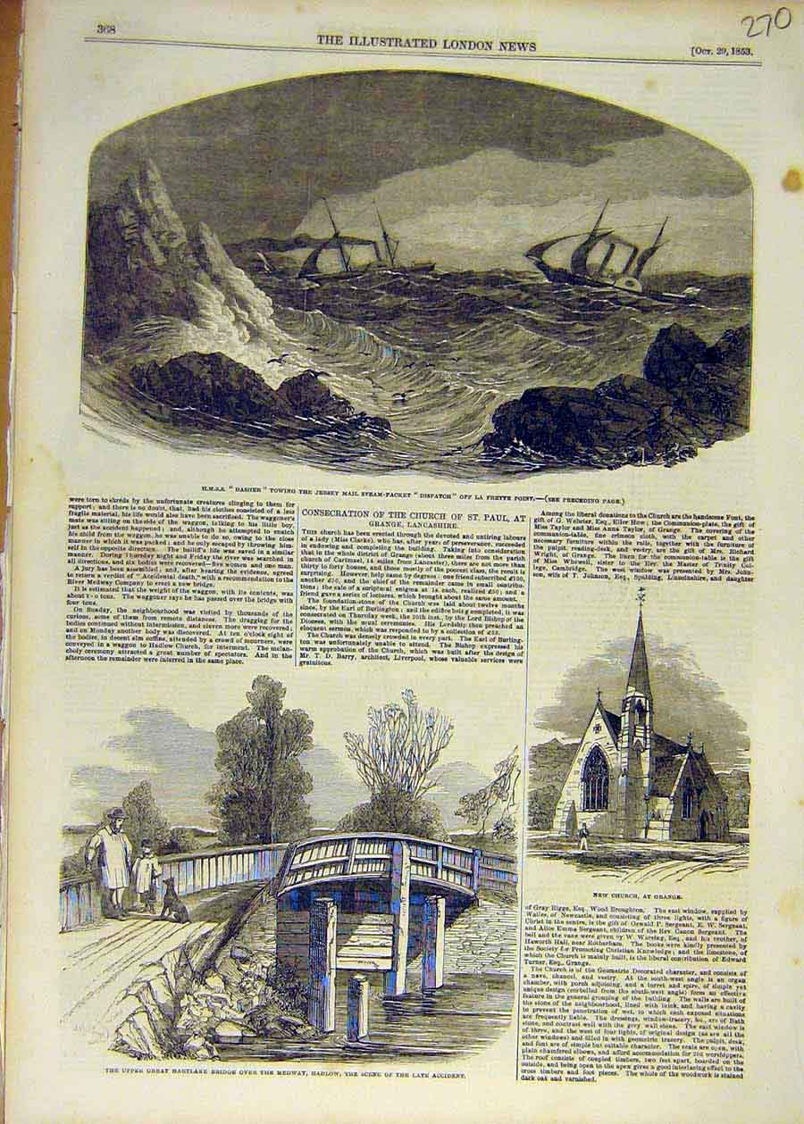 Print 1853 Hmss Dasher Dispatch Hartlake Bridge Church Grange 70Ccc1 Old Original