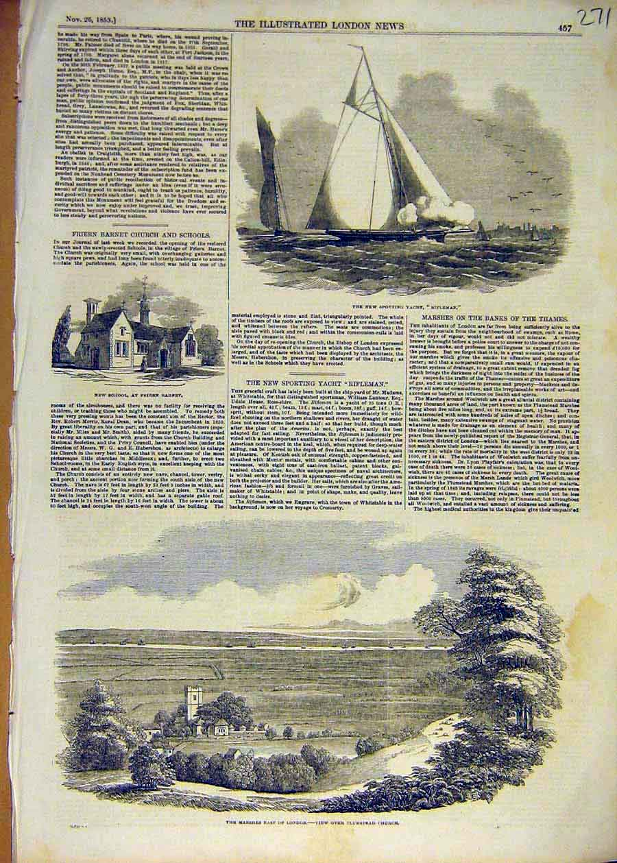 Print 1853 Sporting Yacht Rifleman School Marshes Plumstead 71Ccc1 Old Original