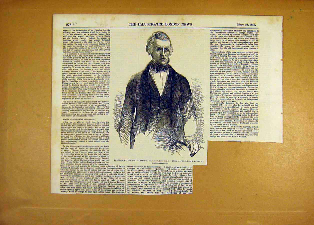 Print 1853 Portrait Viscount Redcliffe 76Uccc1 Old Original