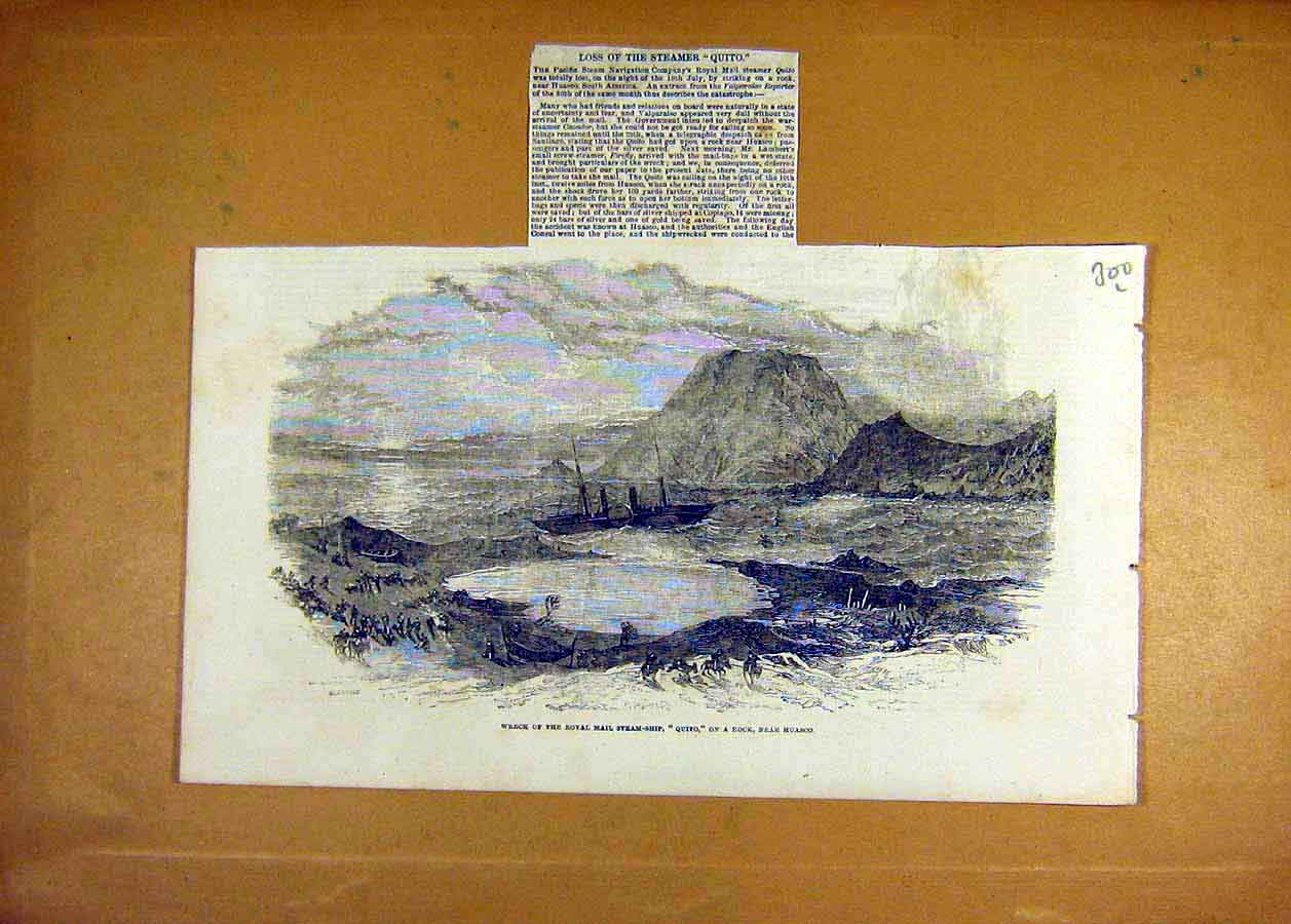 Print 1853 Wreck Royal-Mail Steam-Ship Quito Huasco Rock 00Lccc1 Old Original