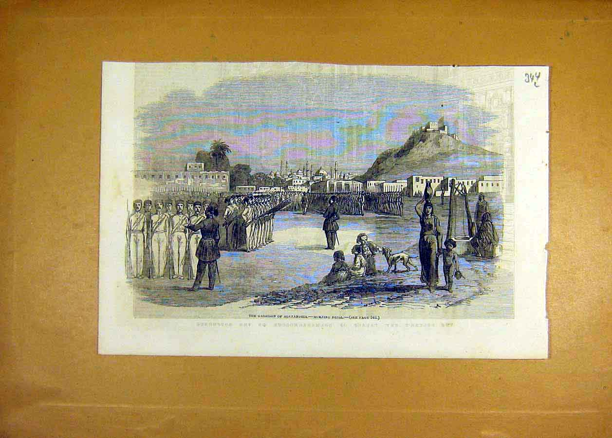 Print 1853 Garrison Alexandria Morning-Drill Army Military 44Lccc1 Old Original