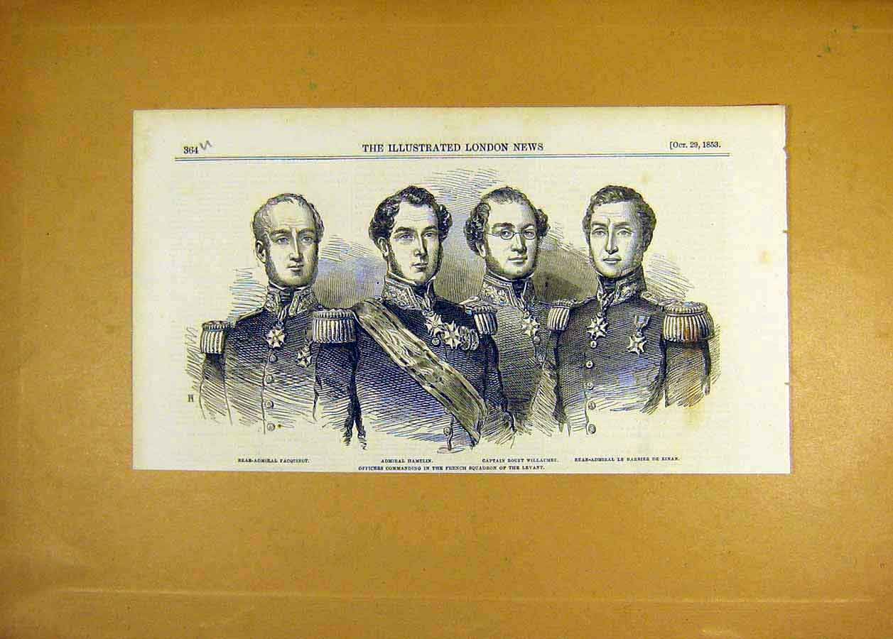 Print 1853 Portrait Officer Commanding French Squadron Levant 64Uccc1 Old Original