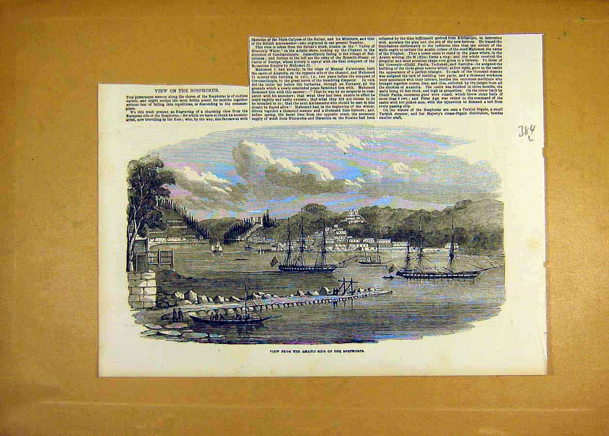 Print 1853 Bosphorous View Ships Harbour River Places 84Lccc1 Old Original