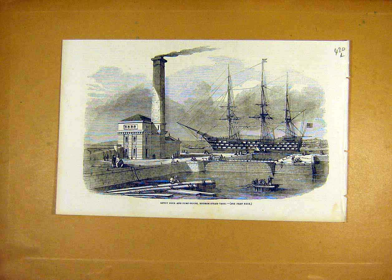 Print 1853 Dock Pump-House Keyham Steam-Yard 20Lccc1 Old Original