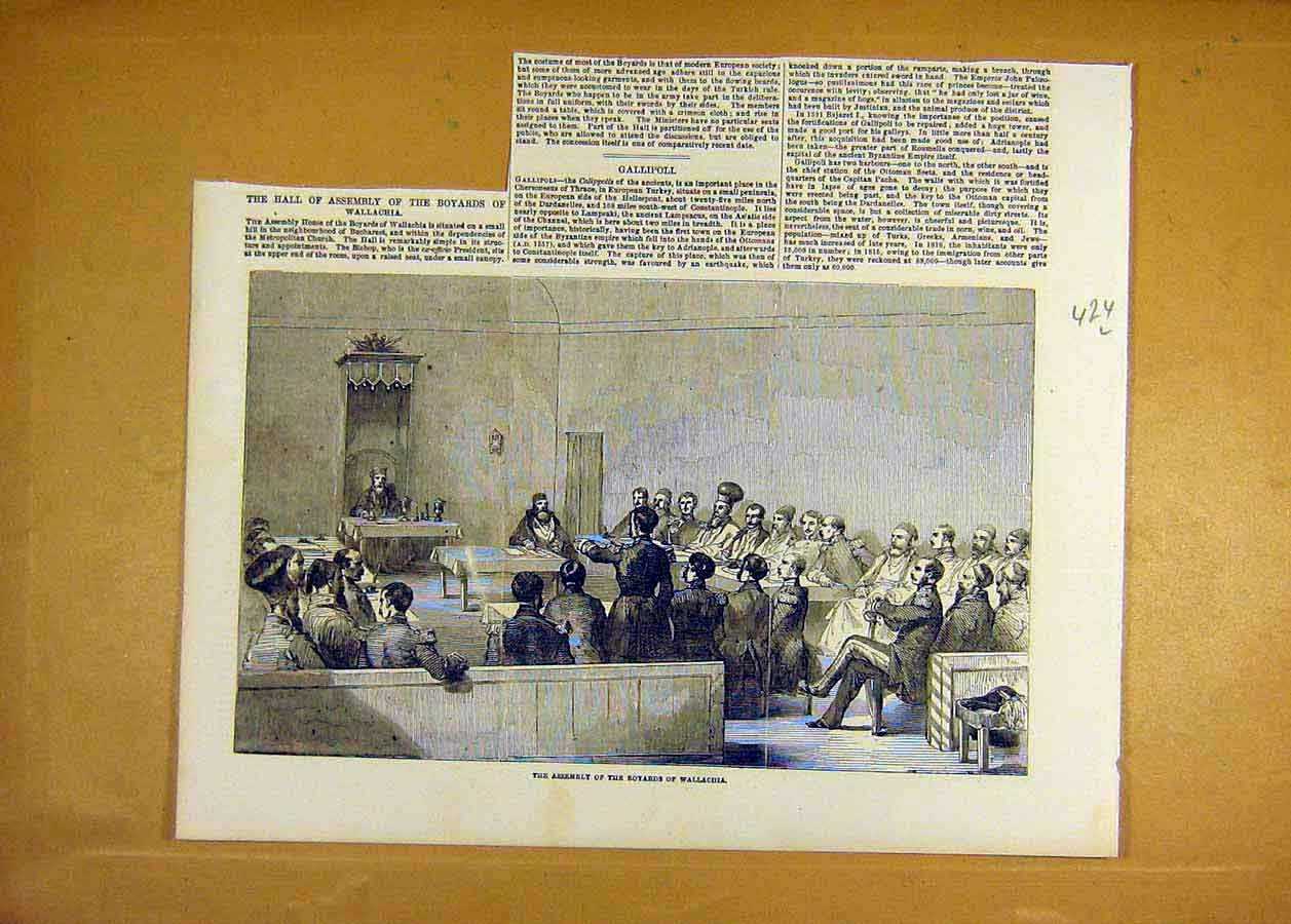 Print 1853 Assembly Boyards Wallachia People Bucharest 24Lccc1 Old Original