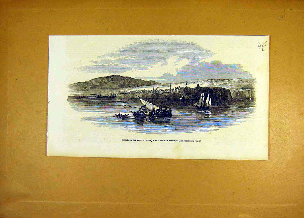 Print 1853 Gallipoli Chief-Station Ottoman Fleet 25Lccc1 Old Original