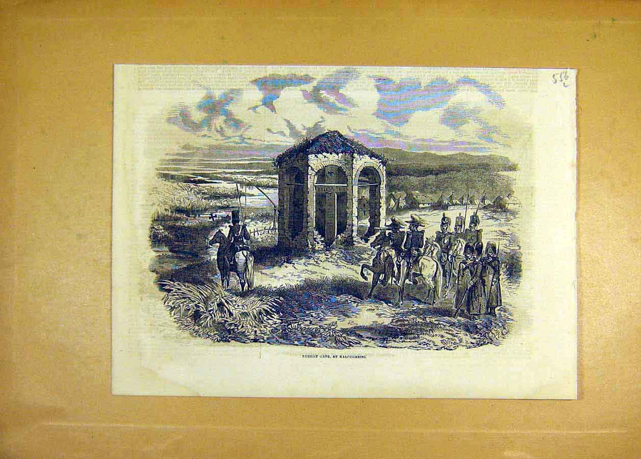 Print 1853 Russian Gate Kalougerini Troops Soldiers 56Lccc1 Old Original