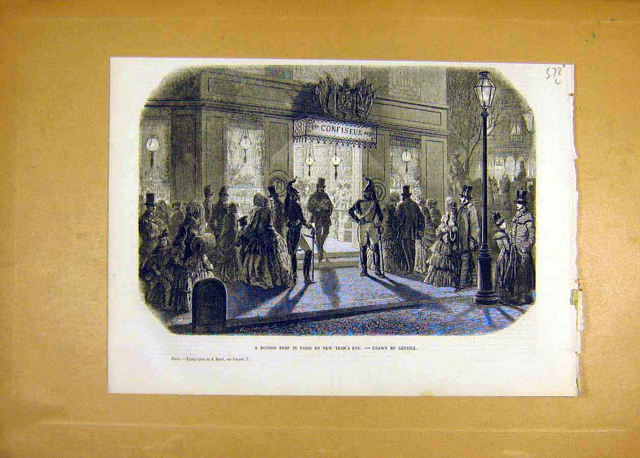 Print 1853 Bonbon Shop Paris Genoile France French Fine Art 72Lccc1 Old Original
