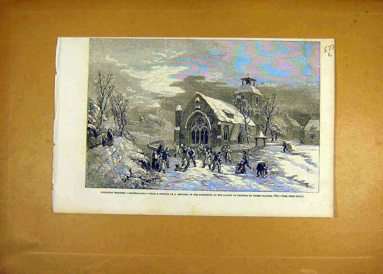 Print 1853 Christmas Weather Snowballing Dodgson Fine Art 77Lccc1 Old Original