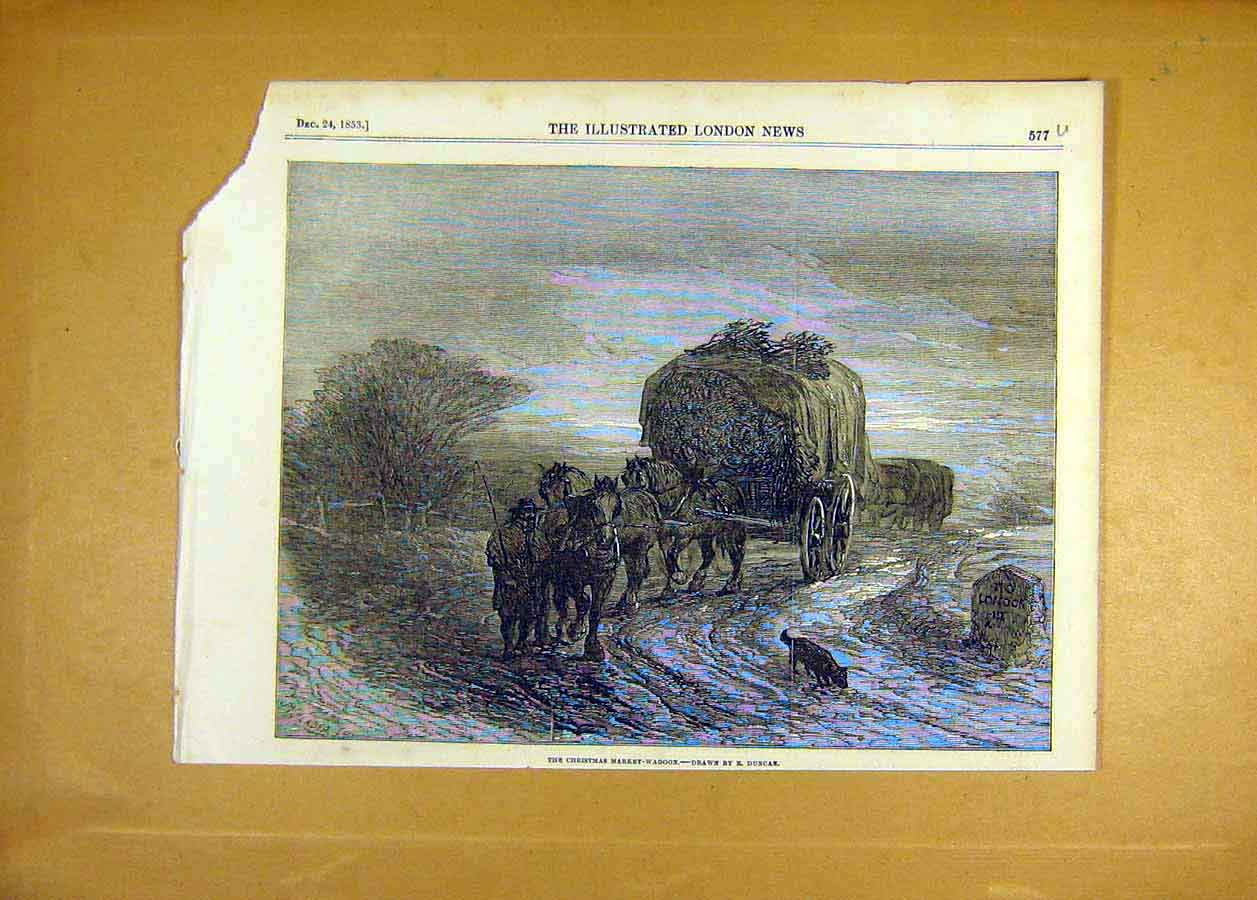 Print 1853 Christmas Market-Waggon Duncan Fine Art 77Uccc1 Old Original