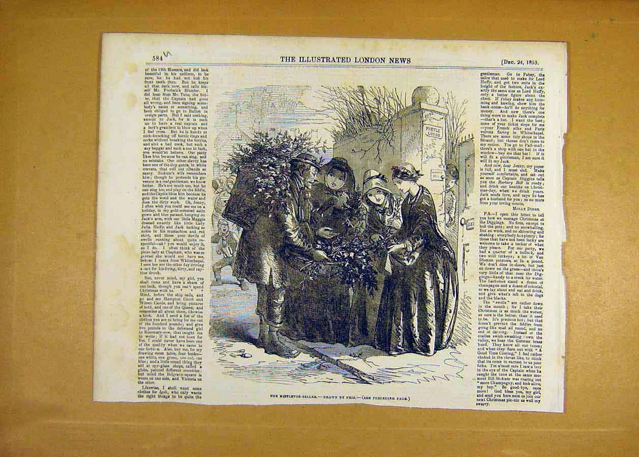 Print 1853 Mistletoe-Seller Christmas Phiz People 84Uccc1 Old Original