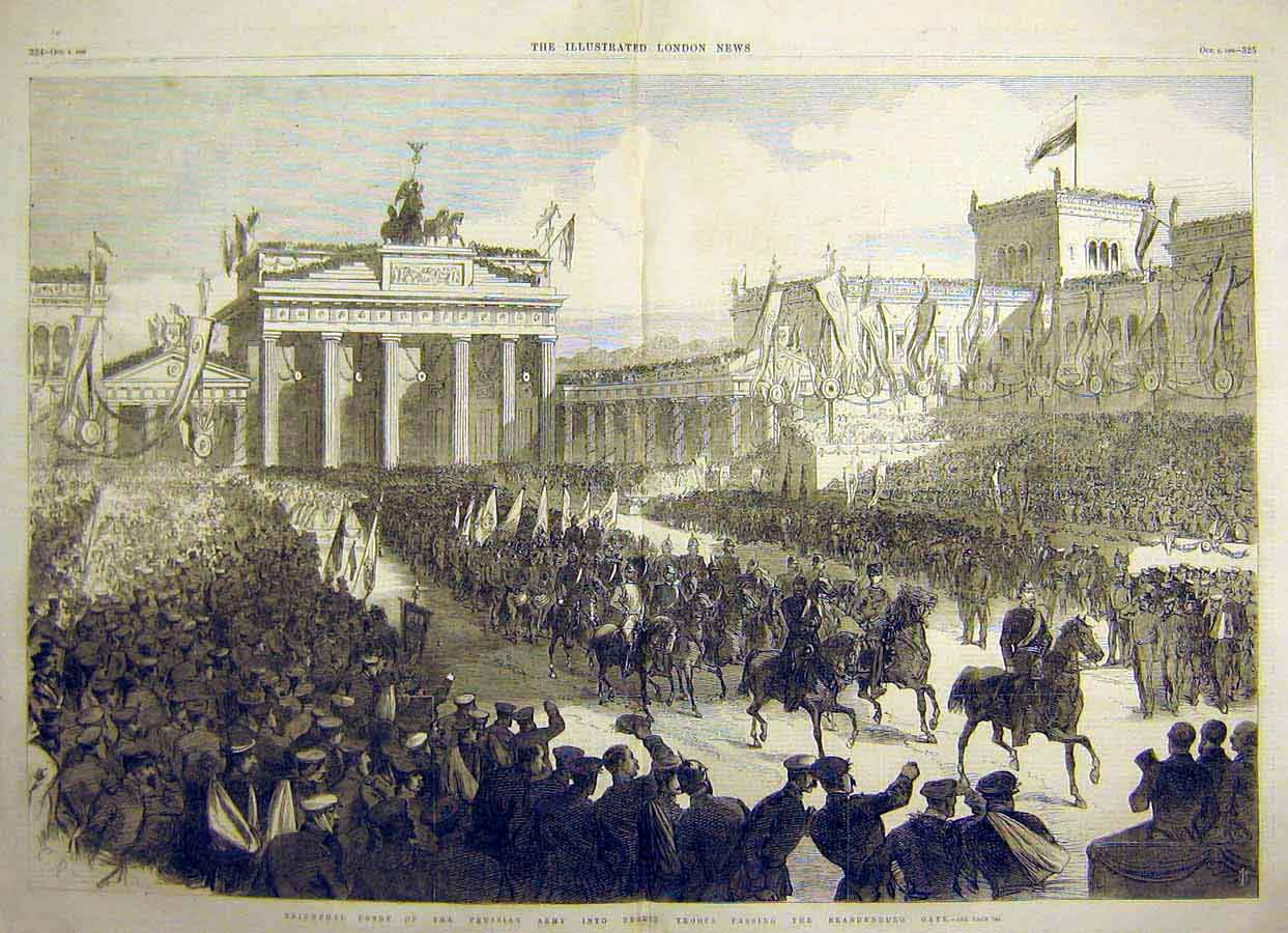 Print Prussian Army Berlin Troops Brandenburg Gate 1866 04Tccc1 Old Original