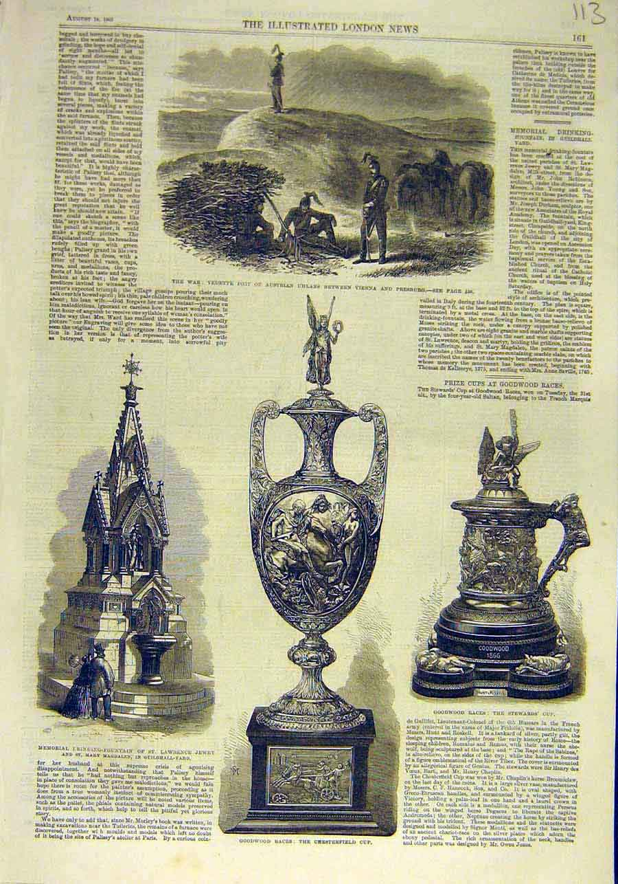Print War Austrian Uhlans Vienna Goodwood Cup Fountain 1866 13Ccc1 Old Original