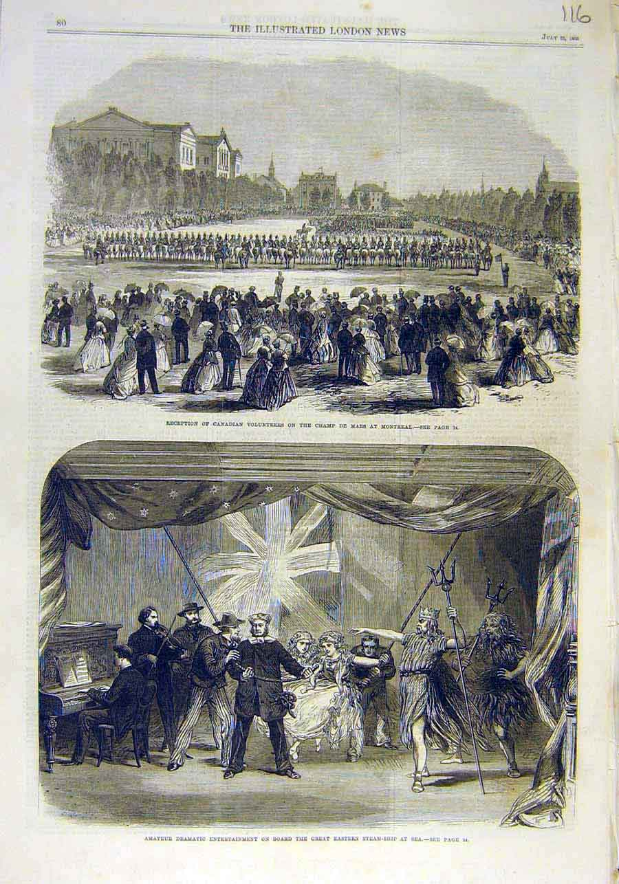 Print Canadian Volunteers Montreal Steam-Ship Drama 1866 16Ccc1 Old Original