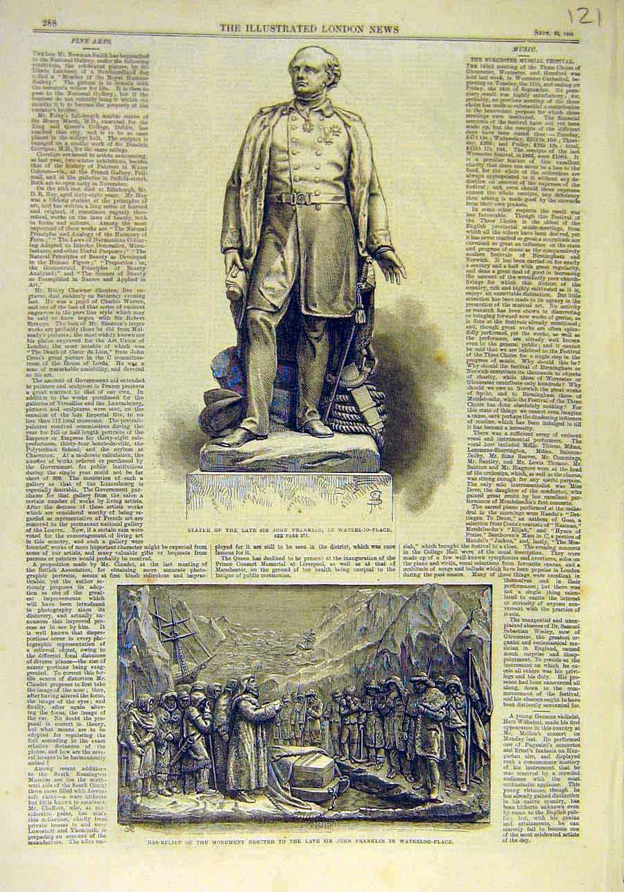 Print Franklin Statue Waterloo-Place Bas-Relief Monument 1866 21Ccc1 Old Original