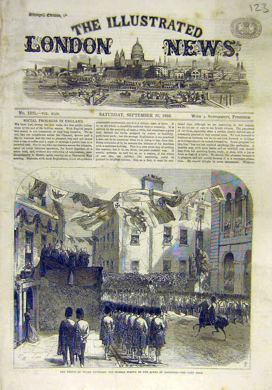 Print Prince Wales Marble Statue Queen Aberdeen 1866 23Ccc1 Old Original