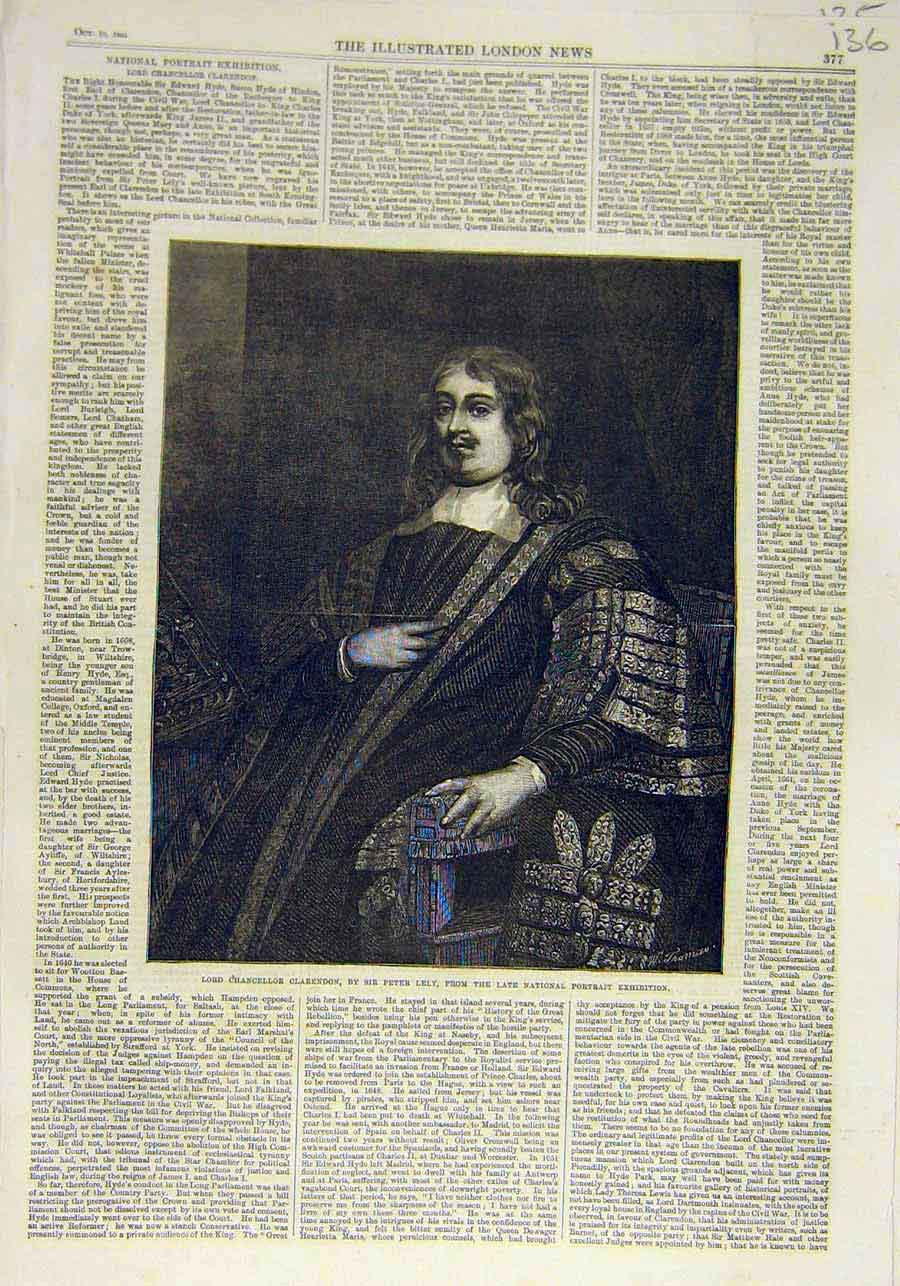 Print Portrait Lord-Chancellor Clarendon Lely Exhibition 1866 36Ccc1 Old Original