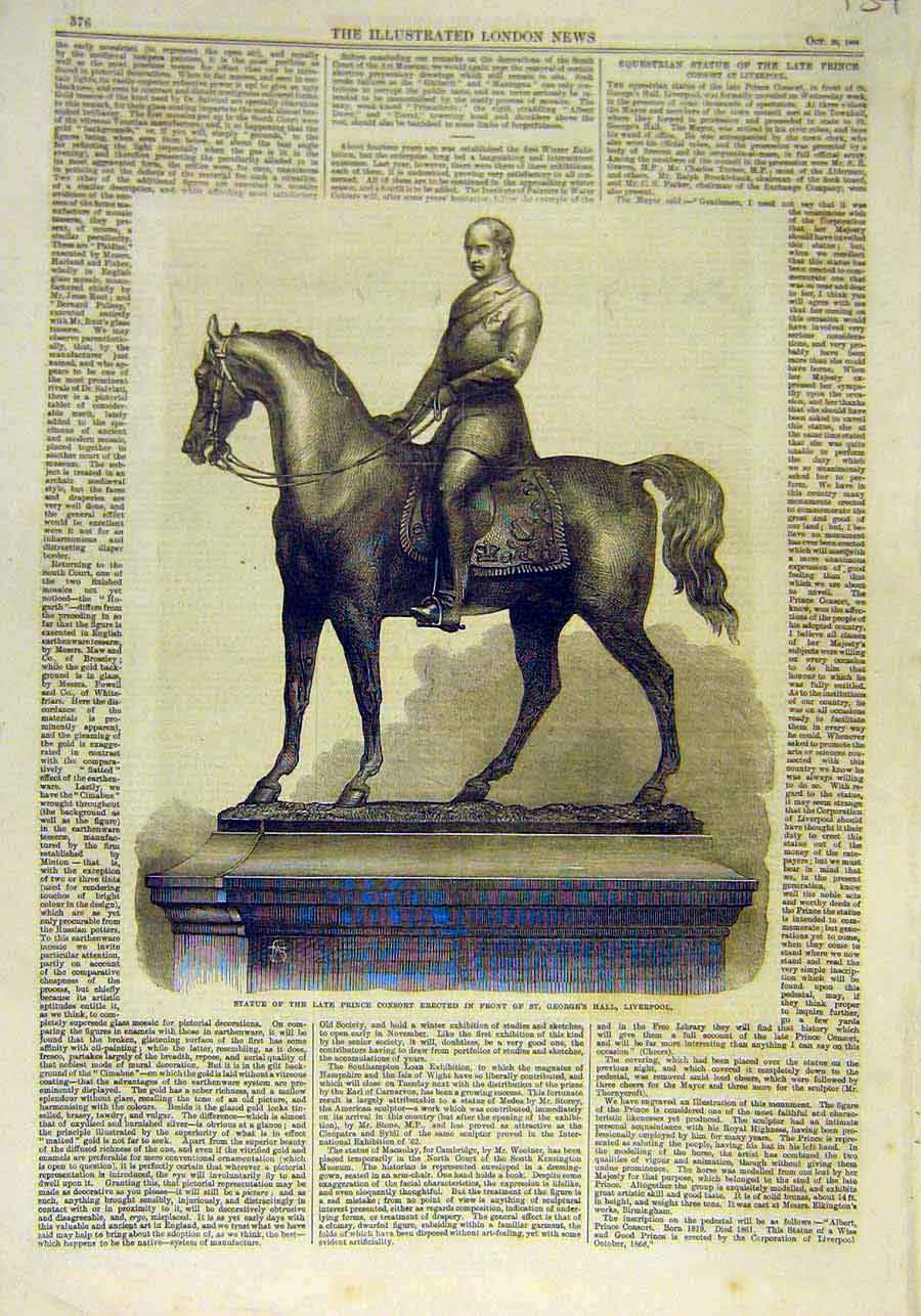 Print Statue Prince Consort Liverpool St. George'S Hall 1866 37Ccc1 Old Original