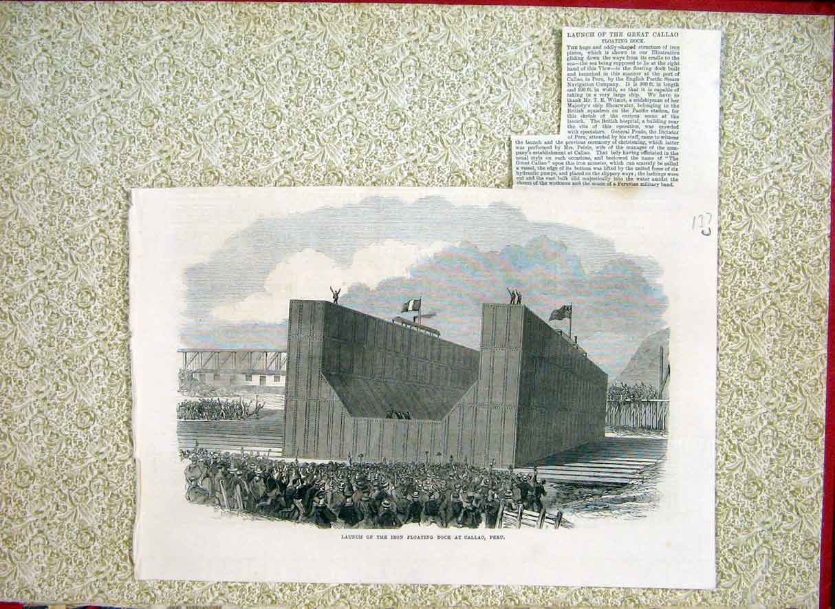 Print Iron Floating Dock Callao Peru Launch 1866 37Lccc1 Old Original
