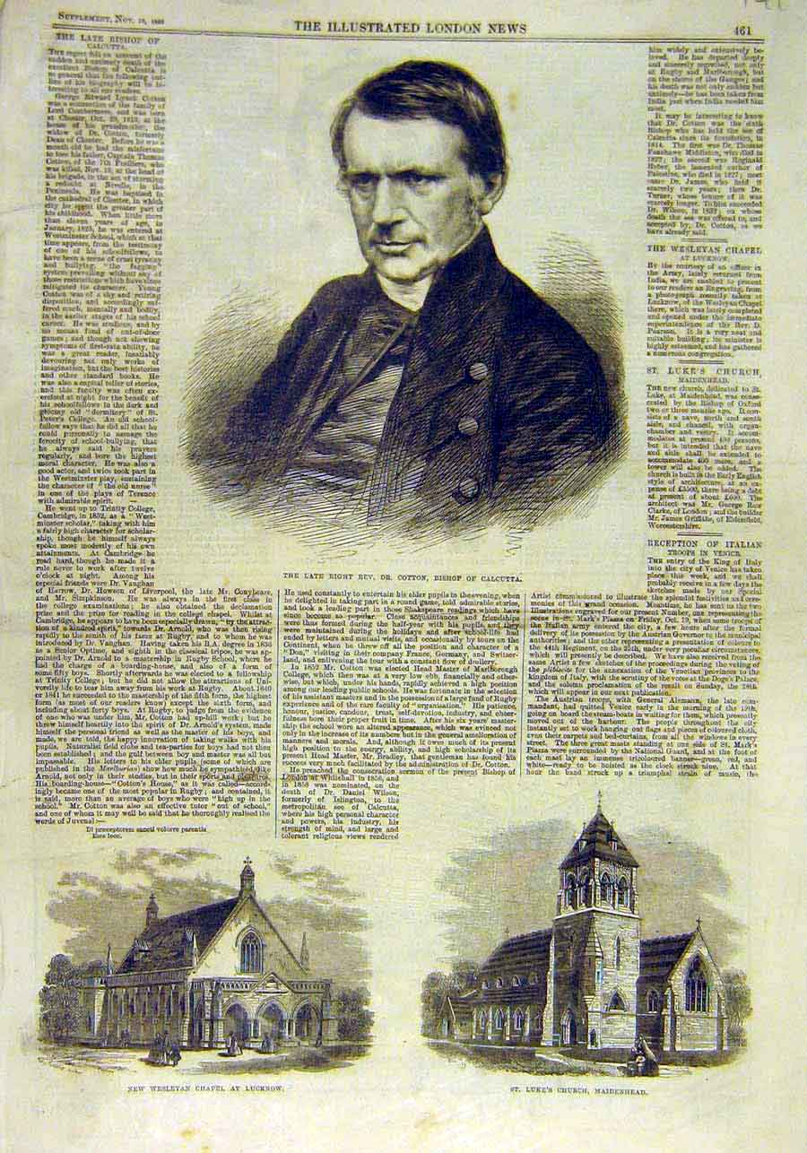 Print Cotton Bishop Calcutta Chapel Lucknow Church Maidenhead 41Ccc1 Old Original