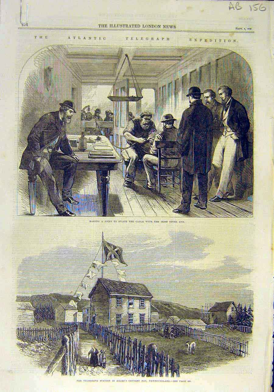 Print Atlantic Telegraph Expedition Cable Newfoundland 1866 56Accc1 Old Original