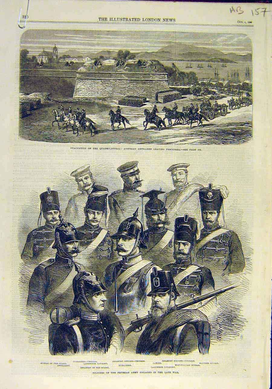 Print Austrian Artillery Prussian Army Berlin Military 1866 57Accc1 Old Original