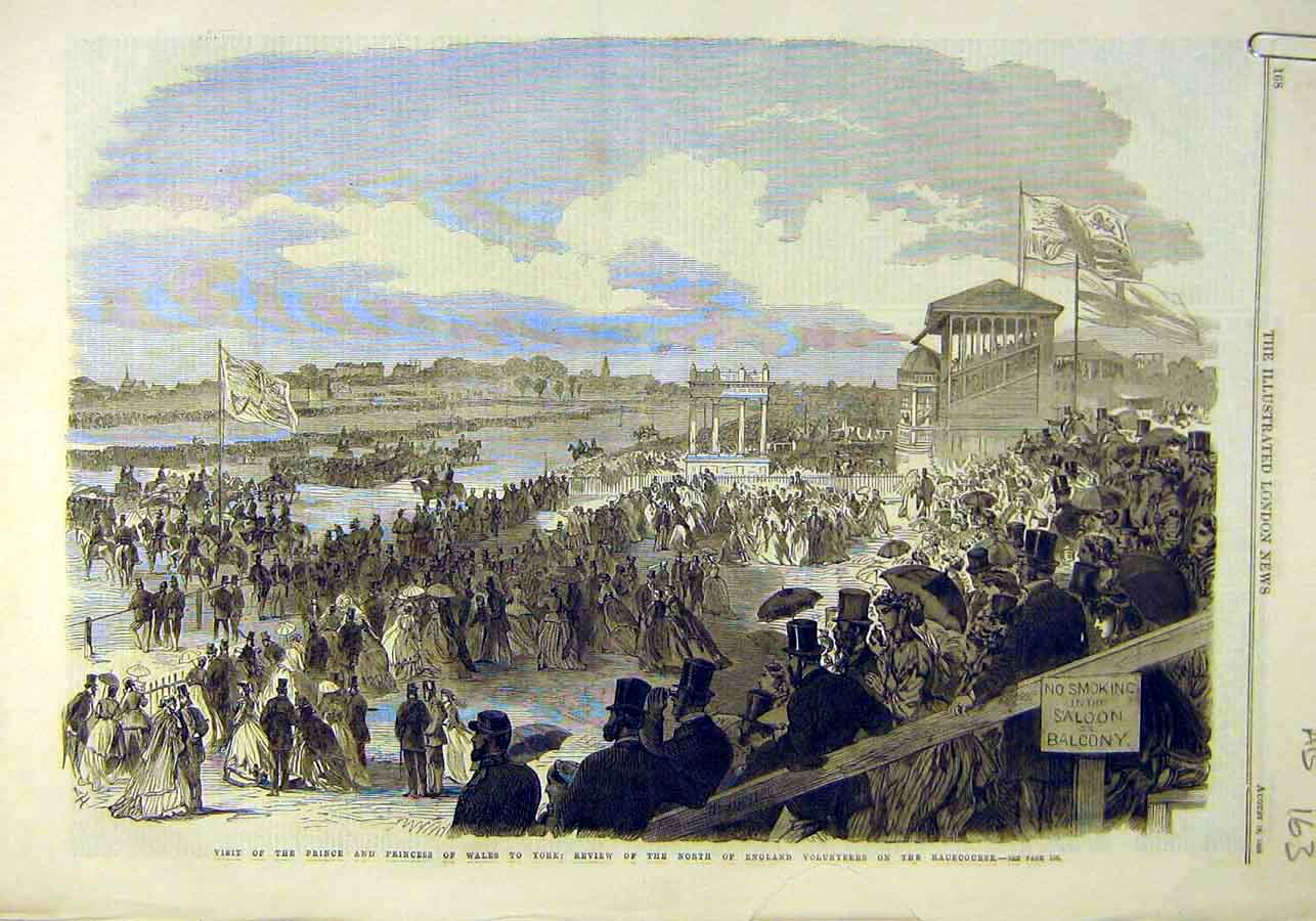 Print Racecourse Review York Prince Princess Wales 1866 63Accc1 Old Original