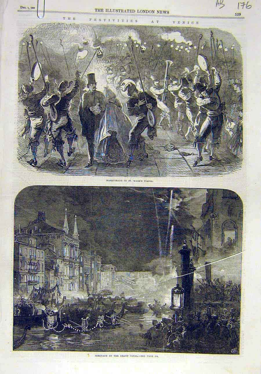 Print Venice Festivities Masquerade Canal King Italy 1866 76Accc1 Old Original