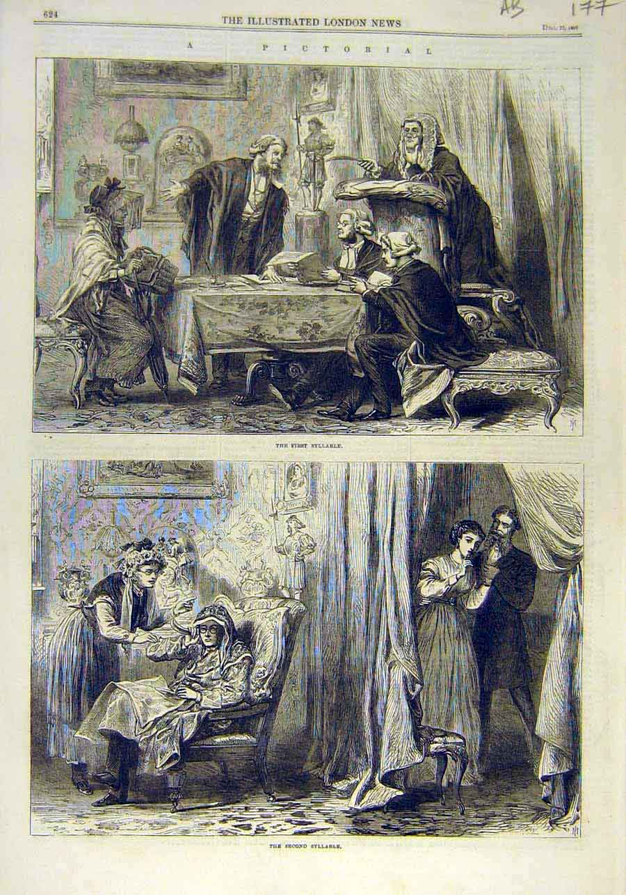 Print Pictorial Sketches Syllable Charades Word Hunt 1866 77Accc1 Old Original