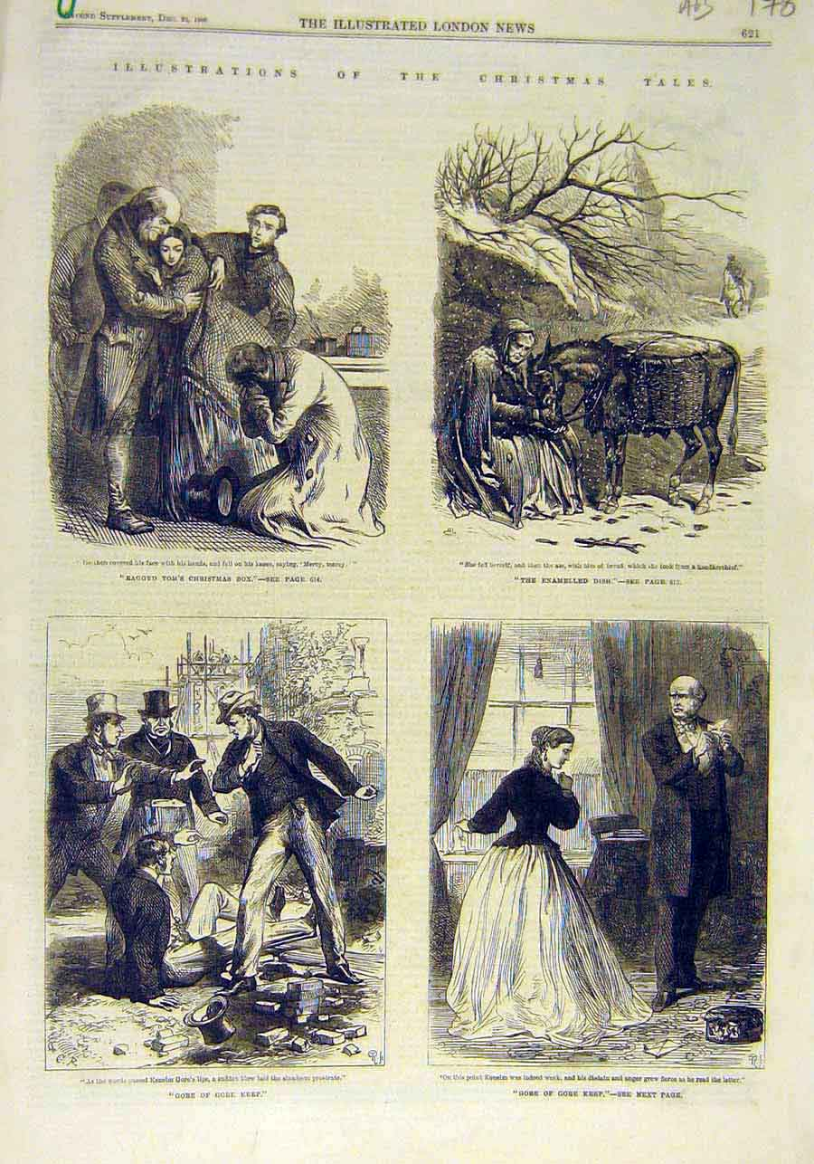 Print Christmas Tales Sketches Stories Xmas 1866 78Accc1 Old Original