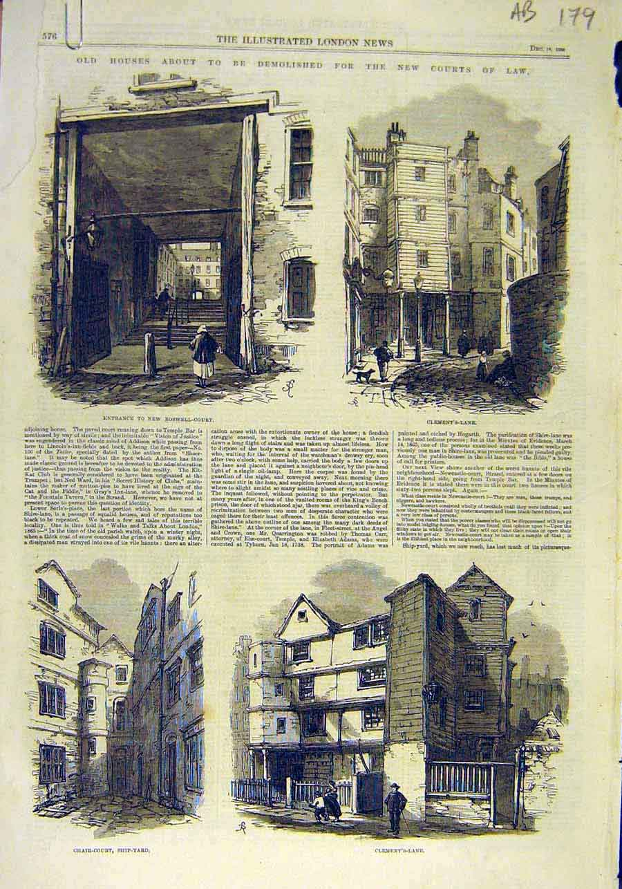 Print Houses Buildings Court Law Clement'S Boswell 1866 79Accc1 Old Original