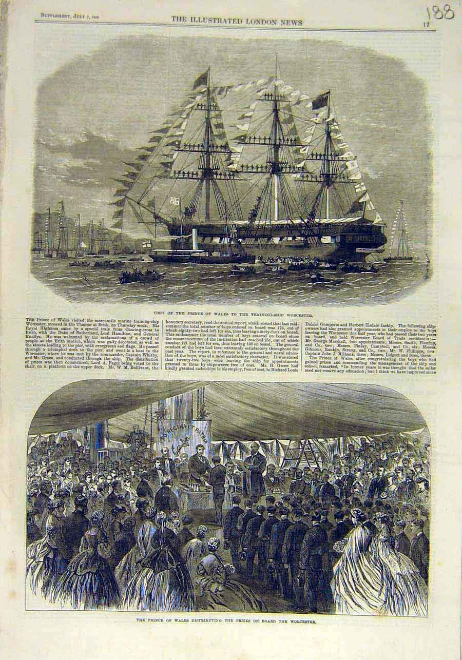 Print Trining-Ship Worcester Prince Wales Visit Prizes 1866 88Ccc1 Old Original