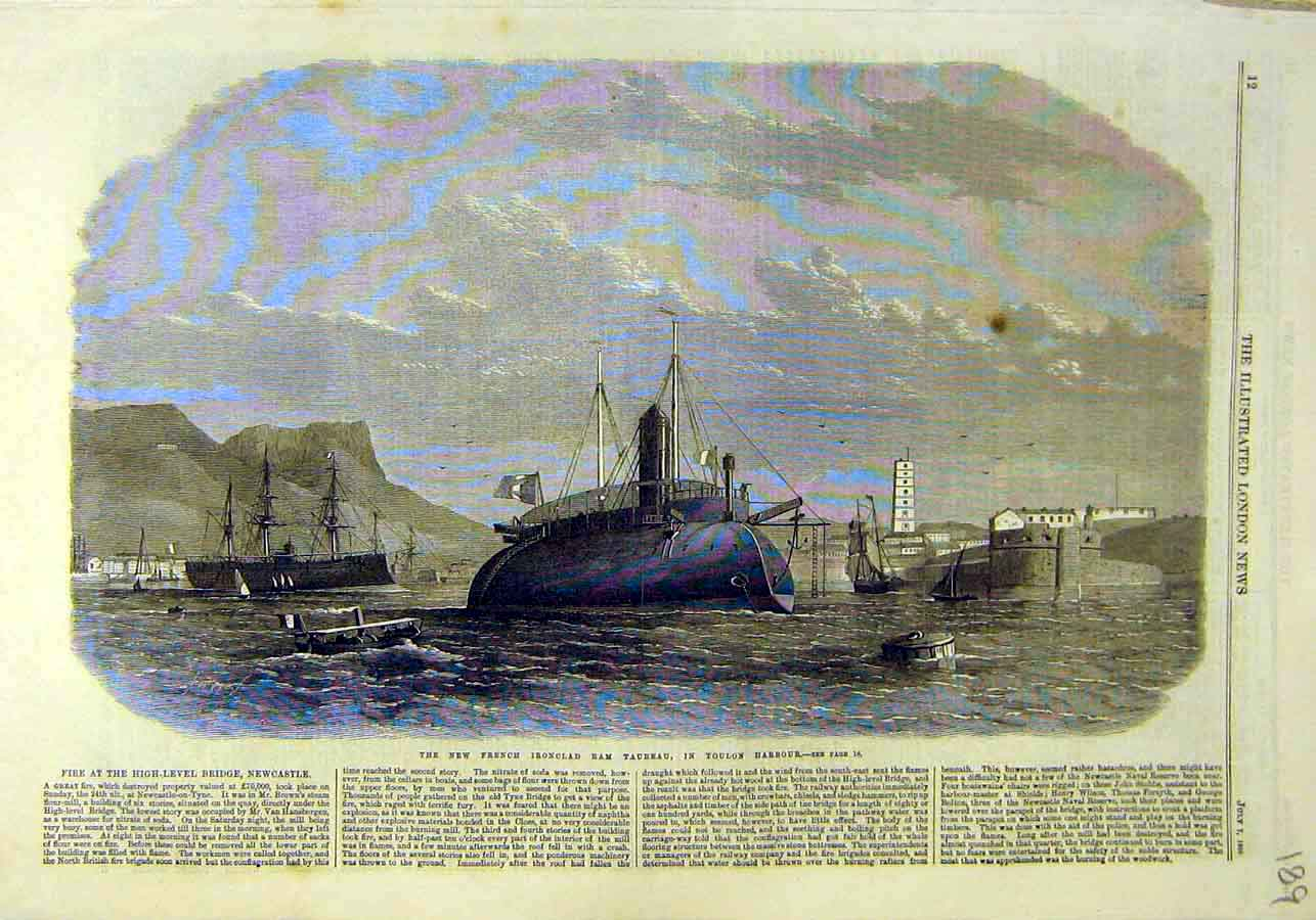 Print French Iron-Clad Ram-Taureau Toulon Harbour 1866 89Ccc1 Old Original