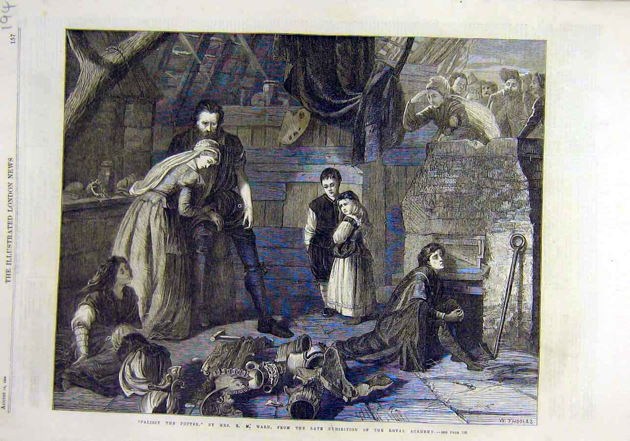 Print Palissy Potter Ward Royal Academy Fine Art 1866 94Ccc1 Old Original