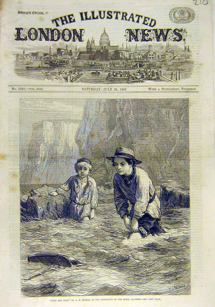 Print Boys Boat Thomas Fine Art 1866 Royal Academy 10Ccc1 Old Original