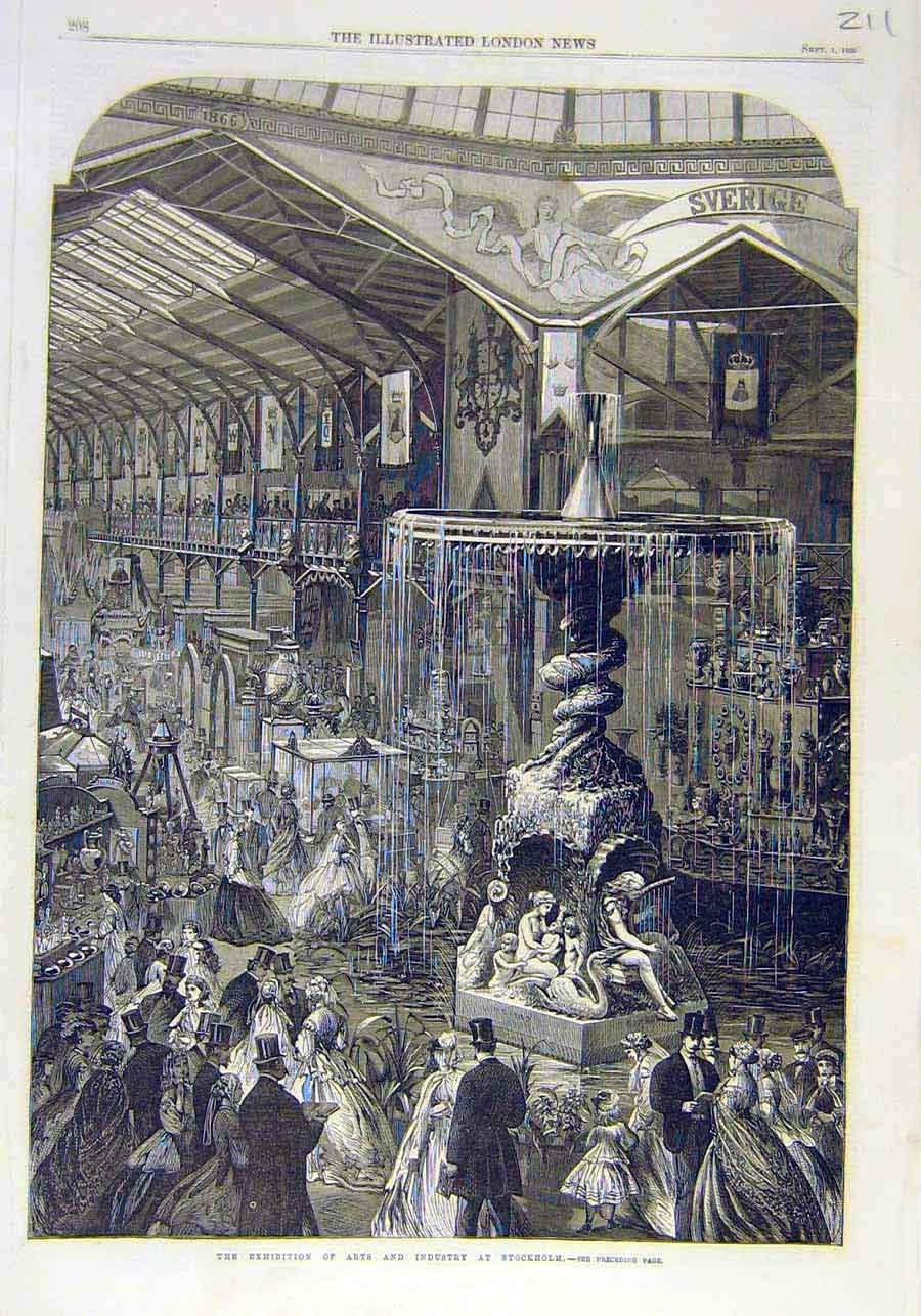 Print Exhibition Arts Industry Stockholm 1866 11Ccc1 Old Original