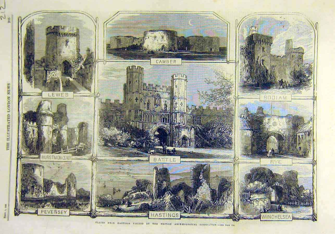 Print Archeological Places Battle Hastings Rye Lewes 1866 12Ccc1 Old Original