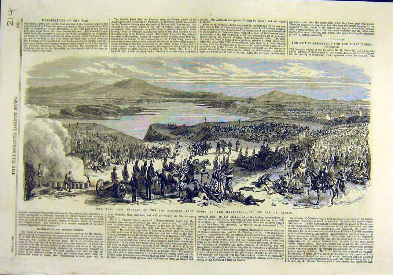 Print War Bivouac Austrian Army Corps Marchfield 1866 14Ccc1 Old Original