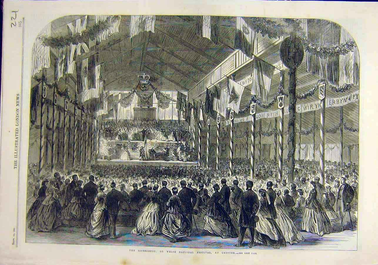 Print Eisteddfod Welsh National Festival Chester 1866 21Ccc1 Old Original