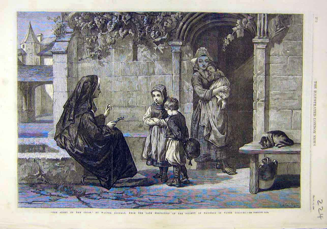 Print Story Cross Goodall Painters Fine Art 1866 24Ccc1 Old Original