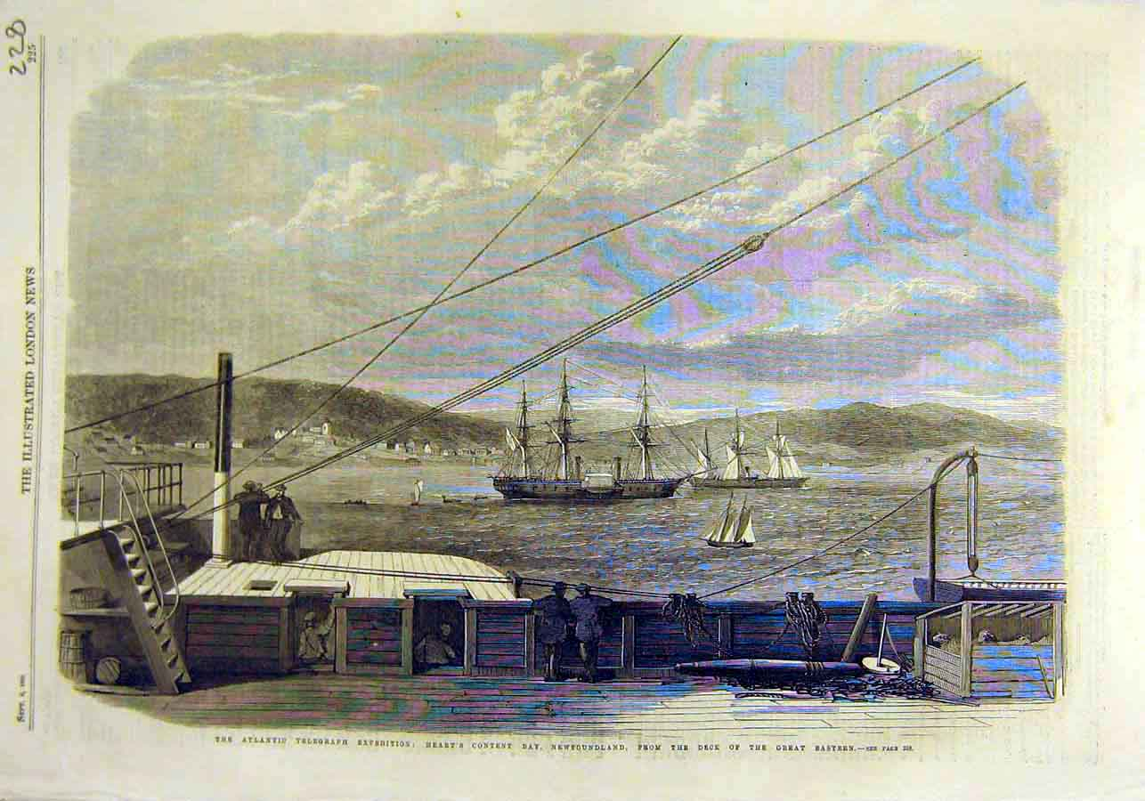 Print New-Foundland Atlantic Telegraph Cable Expedition 1866 28Ccc1 Old Original