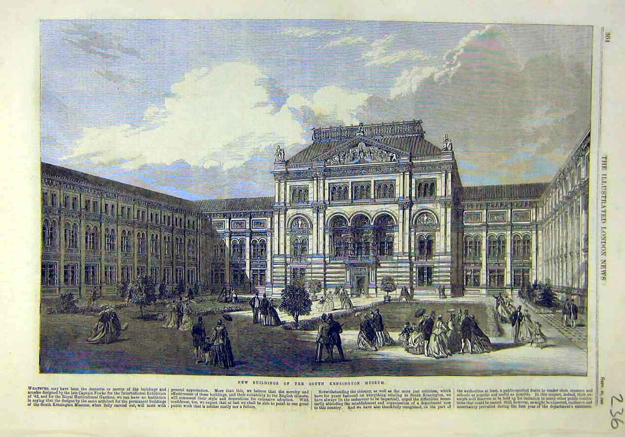 Print Building South-Kensington Museum 1866 36Ccc1 Old Original