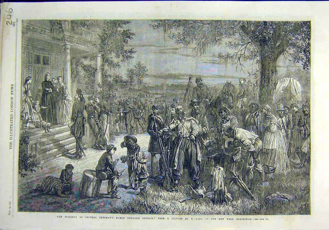 Print Sherman March Georgia Nast New-York Exhibition 1866 46Ccc1 Old Original