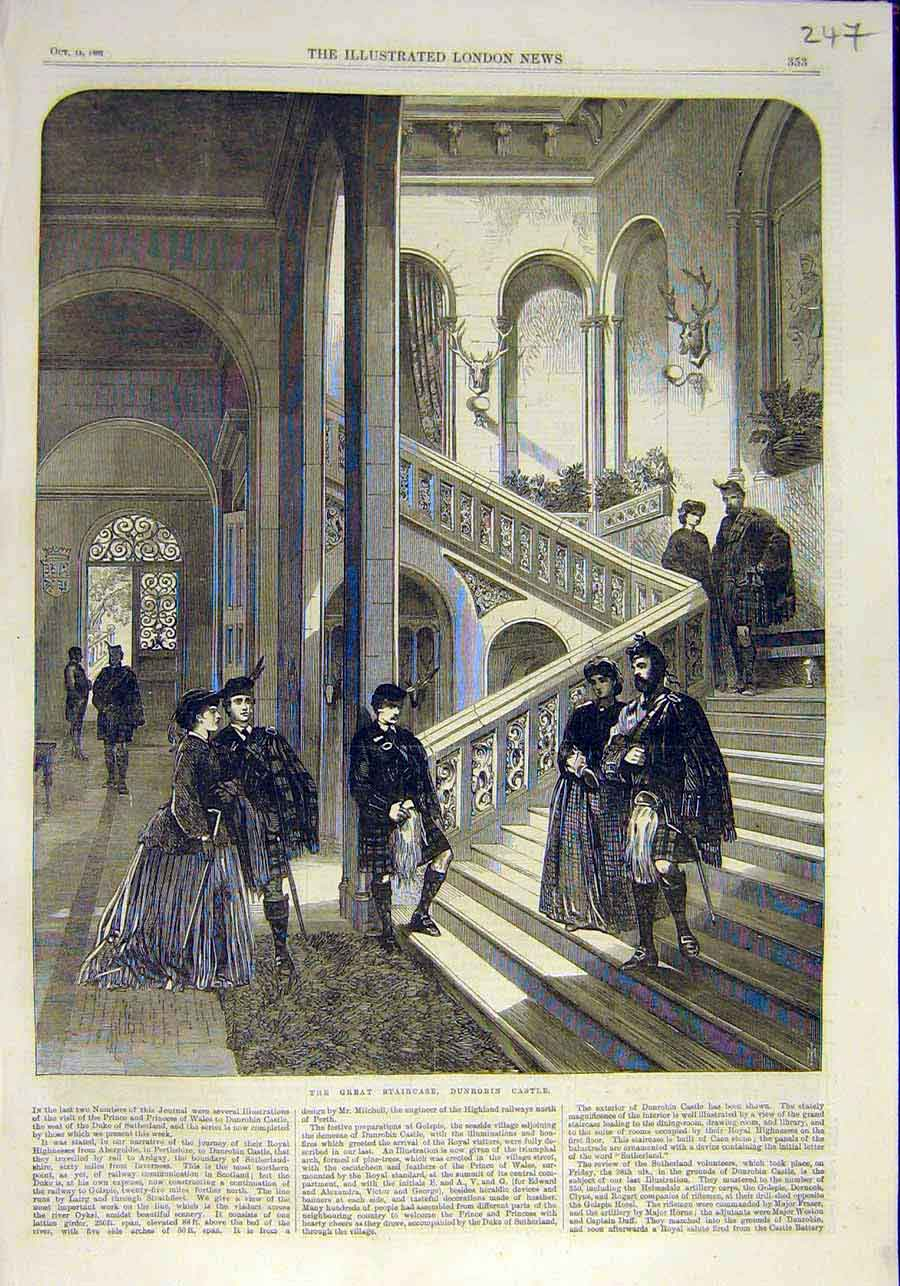 Print Great-Staircase Dunrobin Castle Royal Visit 1866 47Ccc1 Old Original